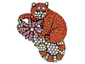 Multicolor Crystal Antiqued Gold Tone Endangered Red Panda Brooch