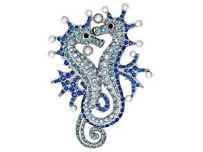 Multicolor Crystal 3mm Pearl Simulant Silver Tone Seahorse Brooch