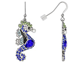Multicolor Crystal Silver Tone Seahorse Dangle Earrings