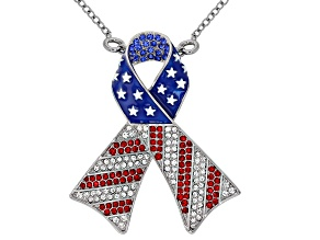Red, White and Blue Crystal Silver Tone Ribbon Pin/Pendant With Chain