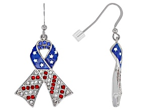 Red, White and Blue Crystal Silver Tone Ribbon Earrings