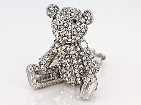 Multi Color Crystals Silver Tone Bear Keychain