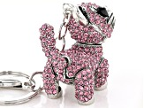 Silver Tone Multi-color Crystal Cat Keychain