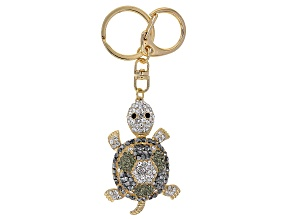 Multicolor Crystal Gold Tone Turtle Keychain