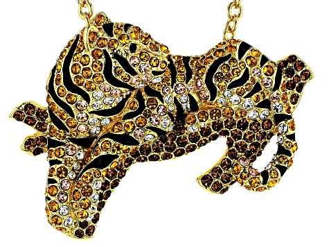 Multi-color Crystal Gold Tone Tiger Pin/Pendant