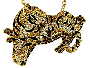 Multi-color Crystal Gold Tone Tiger Pin/Pendant