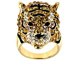 Multi-color Crystal Gold Tone Tiger Ring