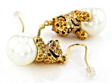 Multi-color Crystal Gold Tone Tiger Earrings