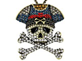 Mulitcolor Crystal Antiqued Bronze Tone Skull And Cross-bone Pin/Pendant With Chain