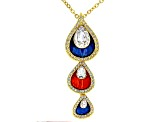 White Crystal Shiny Gold Tone Pear Drop Necklace