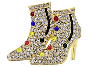 Multi-color Crystal Shiny Gold Tone High Heel Brooch