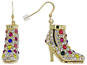 Multi-color Crystal Shiny Gold Tone High Heel Earrings