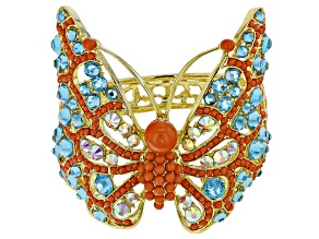 Multicolor Crystal Gold Tone  Butterfly Cuff