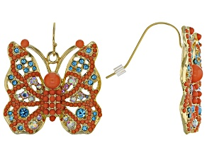 Multicolor Crystal Gold Tone Butterfly
