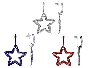 Red, White & Blue Crystal, Silver Tone Set Of 3 Star Earrings