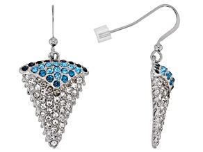 Multi-color Crystal Silver Tone Shark Tooth Earrings