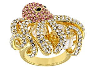 Multi-color Crystal Gold Tone Octopus Ring