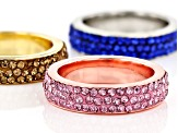 Round Pink, Blue & Yellow Crystal, Tri- color Band Rings Set of Three