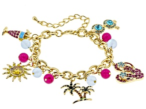 Multicolor Crystal Gold Tone Beach Charm Bracelet