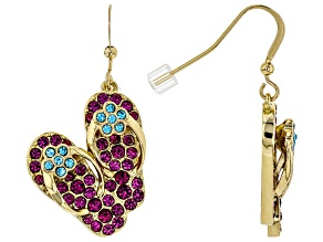 Multicolor Crystal Gold Tone Flip Flop Earrings