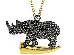 Multicolor Crystal, Gold Tone Rhino Pin/Pendant With Chain
