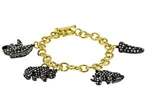 Multi-color Crystal, Gold Tone Rhino Charm Bracelet