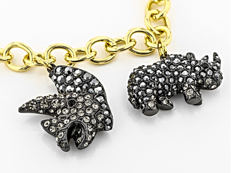 Multi-color Crystal, Gold Tone Rhino Charm Bracelet