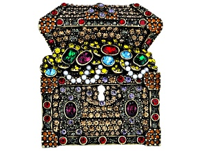 Mulitcolor Crystal Antique Bronze Tone, Treasure Chest Brooch