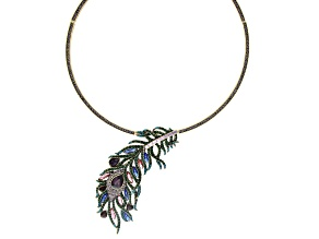 Off Park ® Collection Multi-color Crystal Antiqued Gold Tone Feather Collar Necklace