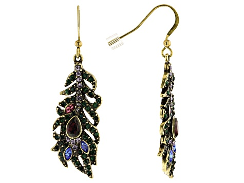 Off Park ® Collection Multicolor Crystal Antiqued Gold Tone Feather Earrings