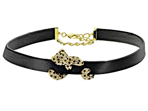 Off Park ® Collection Multi-color Crystal Gold Tone Choker With Leopard