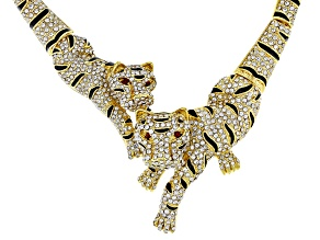 White Crystal Black Enamel Gold Tone Tiger Necklace