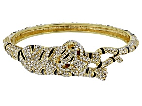 White Crystal Black Enamel Gold Tone Tiger Bracelet