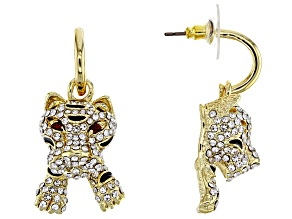 White Crystal Black Enamel Gold Tone Tiger Earrings