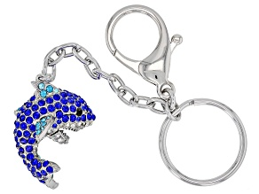 Mulit-color Silver Tone Shark Key Chain