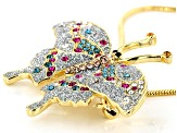 Multicolor Swarovski Elements ™ Gold Tone Butterfly Pendant With Chain