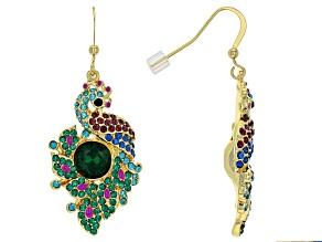 Multi-color Crystal Shiny Gold Tone Peacock Earrings