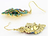 Multi-color Crystal Shiny Gold Tone Peacock Earrings