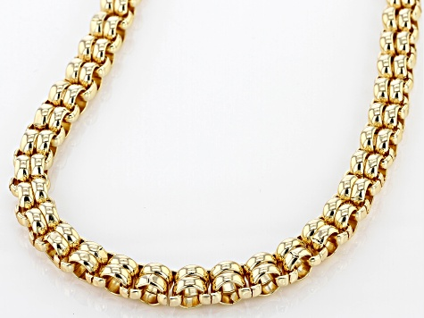 White Crystal Gold Tone Double Rolo Chain Necklace