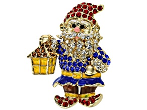 Multi-color Crystal Gold Tone Gnome Brooch