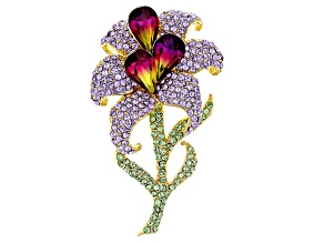 Multicolor Swarovski Elements ™ Gold Tone Flower Brooch