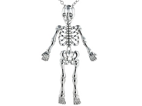 Silver Tone Skeleton Pendant With Chain