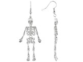 Silver Tone Skeleton Dangle Earrings