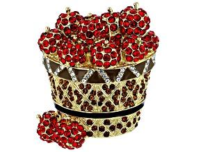 Red Crystal  Shiny Gold Tone Apple Basket Brooch