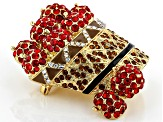 Red Crystal  Shiny Gold Tone Apple Basket Brooch