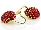 Red Crystal Shiny Gold Tone Apple Dangle Earrings