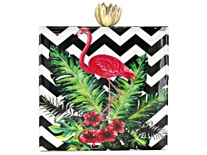 Flamingo Chevron Pattern Wooden Clutch