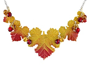 Multicolor Bead Tri-Tone Leaf Necklace