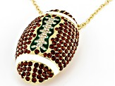 Crystal Gold Tone Football Pendant/Pin