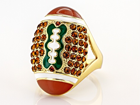 Crystal Gold Tone Football Ring